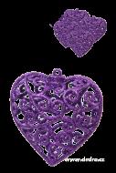 ČIPKOVANÉ srdce tmavo - fialové 5 ks