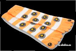 PRSTOVÉ ponožky oranžovo - biele