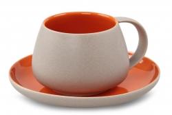 BALI CERAMICS šálka s podšálkou oranžová