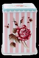 ROSE & BUTTERFLY hranatá dóza výška 14,5 cm