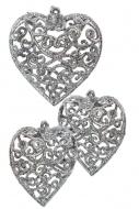 ČIPKOVANÉ srdce strieborné 3 ks