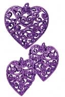ČIPKOVANÉ srdce tmavo fialové 3 ks
