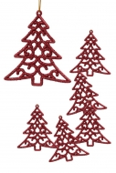 ČIPKOVANÝ stromček červený 6 ks