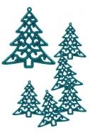 ČIPKOVANÝ stromček tyrkysový 6 ks