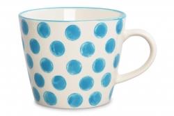 STRIPES&DOTS hrnček s modrými bodkami