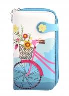 DÁMSKA peňaženka s motívom bicykla tyrkysová