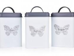 SADA kovových hranatých dóz MOTÝĽ Tea, Sugar, Coffee 3 ks
