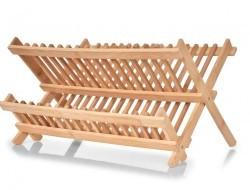Skladací bambusový odkvapkávač na riad