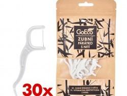 Zubné špáradlo Goeco® z kukurice s niťou, kompostovateľné 30 ks
