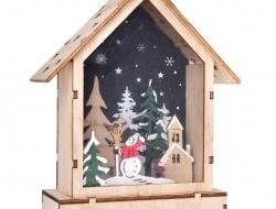 Domček vnútri s lesným zátiším s LED osvetlením 16 cm