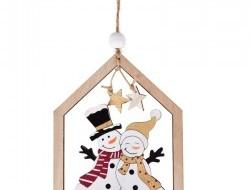 Drevená ozdoba v tvare domčeka s roztomilou aplikáciou snehuliaka 16 cm