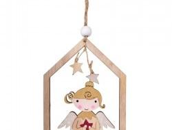 Drevená ozdoba v tvare domčeka s roztomilou aplikáciou anjela 16 cm