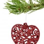 Trblietavé srdiečka krajkového vzhľadu 7 cm, 3 ks červené