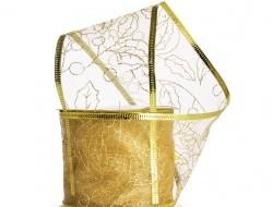 Darčeková dekoračná sieťovaná stuha, zlatá s lístkami