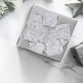 Darčeková dekoračná sieťovaná stuha strieborná s ornamentami