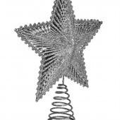 Špica na vianočný stromček v tvare hviezdy STRIEBORNÁ