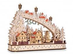 Svietiace lesné mestečko s točiacim sa kolotočom a LED osvetlením 45 cm