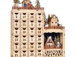 Veľký adventný drevený kalendár s LED osvetlením 43 cm