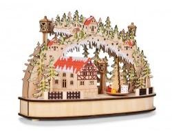 Svietiaca lesná dedinka s otáčajúcim sa kolotočom a LED osvetlením 35 cm