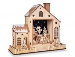 Domček so zimnou krajinou s LED osvetlením 35 cm