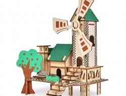 3D Skladacia drevená stavebnica MLYN 22 cm