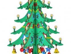 Skladacia drevená dekorácia ozdobený vianočný STROMČEK 26 cm