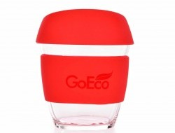 KELIMERO® GoEco® sklenený hrnček 300 ml červený