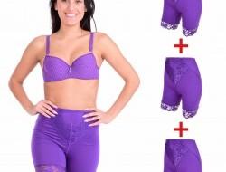 BRIDGET LONG nohavičky s nohavičkami 3 + 1 ZADARMO fialová veľ. M
