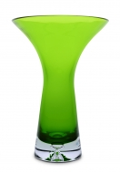 SKLENENÁ váza so širokým otvorom zelená