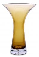 SKLENENÁ váza so širokým otvorom hnedo - žltá