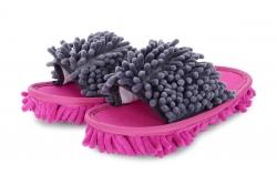 SAMOCHODKY upratovacie papuče šedo - ružové