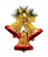 TRI ZVONČEKY závesná dekorácia zlato - červená