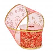 DEKORAČNÁ stuha červená so zlatými ornamentami