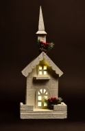 DREVENÝ kostolík s LED osvetlením