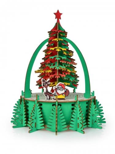 Skladacia drevená dekorácia vianočný stromček 29 cm