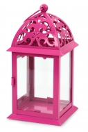KOVOVÝ svietnik ružový výška 35 cm