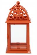 KOVOVÝ svietnik oranžový výška 35 cm