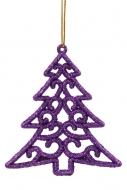 ČIPKOVANÝ stromček tmavo - fialový 6 ks