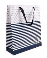 DARČEKOVÁ taška s modrými pruhmi veľkosť L