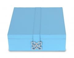 DREVENÁ šperkovnica modrá