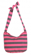 STRIPES textilná taška ružovo - šedá