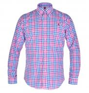 KENT košeľa s ružovo - modrými kockami