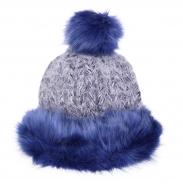 POLARIS pletená čiapka modro - šedá
