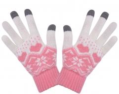 DOTYKOVÉ pletené rukavice ružové