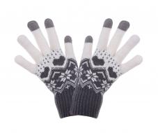 DOTYKOVÉ pletené rukavice šedé