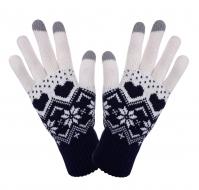 DOTYKOVÉ pletené rukavice tmavo - modré